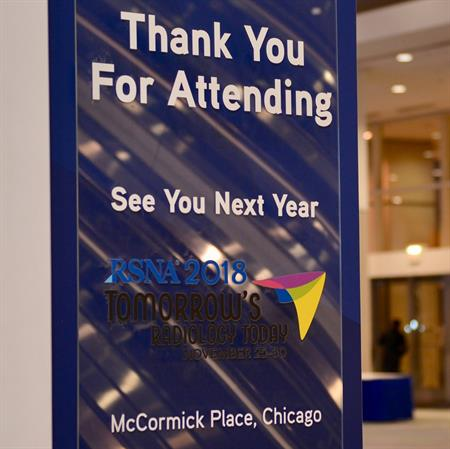 Sign thanking people for attending RSNA